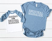 Matching Fathers Day Shirts - Regional Manager / Assistant To - Matching outfit Set (Adult Shirt & Baby Bodysuit or Toddler t-Shirt)