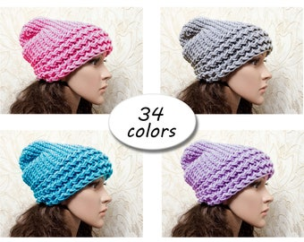 Knit Hat Womens Hat Slouchy Beanie - Hat warm ears Color Choice - Womens Accessories Winter Hat - Gift Her