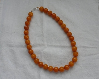 "ON SALE 1930's BAKELITE Beaded Necklace/c1939/1/2"" Diameter Uniform Bakelite Beads/Gorgeous Butterscotch Beaded Necklace With some Egg Yolk"