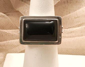 Chunky Black Onyx Diamond Gypsy Boho Sterling Silver Ring
