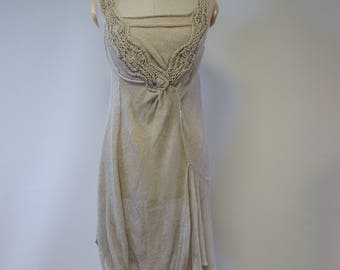 Exceptional taupe linen transparent dress, M size. Made of pure linen.