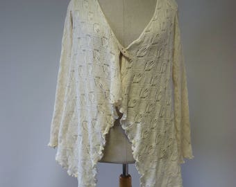 Handmade openwork off-white organic cotton cardigan, L size. Only one sample.