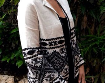 White and black embroidered jacket