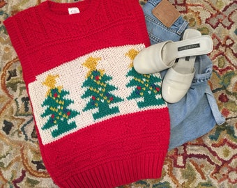 1990's Vintage Ugly Christmas Vest in Size Medium, 90's Ugly Retro Holiday Vest, Ugly Christmas Vest, Ugly Sweater By Raltio