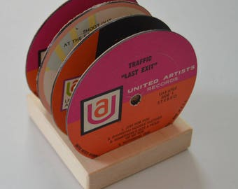 4 vintage record vinyl label drink coasters with wooden display base