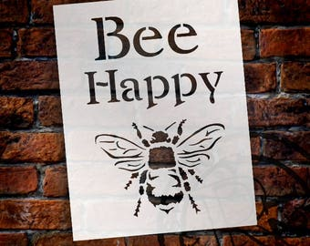 Bee Happy - Word Art Stencil - Select Size - STCL1171 - by StudioR12