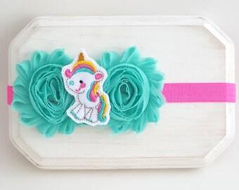Hot Pink and Aqua Unicorn Headband - Unicorn Baby Headbands - Newborn Headband - Baby Girl Headband - Hot Pink Headband - Unicorn Cake Smash