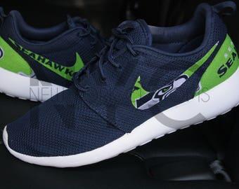 Seattle Seahawks 17' Nike Roshe One Navy Blue Custom Men Women & Kids