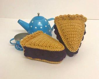 Play Food Crochet Blueberry Pie Slice, Gift, Amigurumi