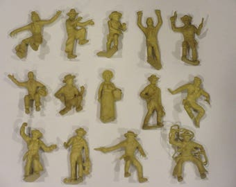 Vintage MARX Western Town Roy Rogers Cowboys Lot of 14 Figures