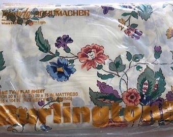 NIP Vintage Burlington Waverly TWIN Flat floral sheet, cotton poly blend, bedding
