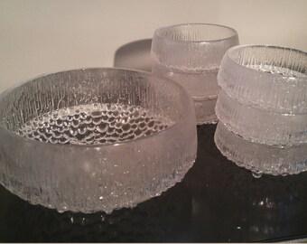 Set of Finnish iittala Ultima Thule footed Bowls by Tapio Wirkkala