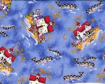 Tissu coton pour enfants l'arche de Noé stylisée fond bleu