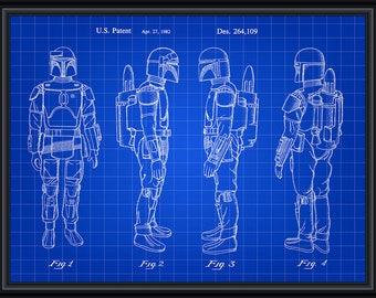 Star Wars Boba Fett Bounty Hunter Patent Blueprint Poster A4