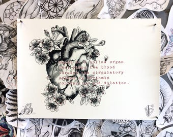 SALE! Anatomical Heart with Flowers and Typewriter Text Tattoo Desgin Etching Style Tattoo Flash Art Dark Macabre.