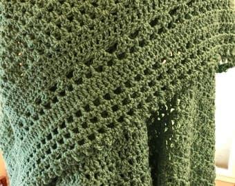 Sage Green Crochet Shawl