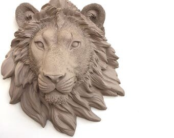 ANY COLOR or TAN Faux Lion Head Wall Mount // Faux Taxidermy // Safari Nursery // Animal Decor // Lion King // Statue Bust // Resin // Leo