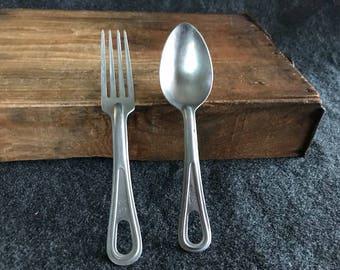 Vintage U.S. Military flatware fork and large spoon
