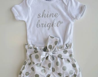 Size 1 'Shine Bright' Bodysuit and Bloomers Set