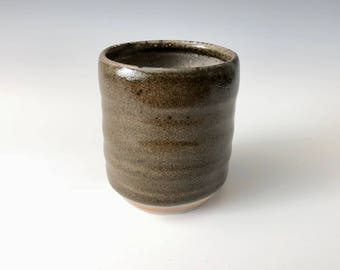 Modern Handmade Ceramic Wine Cup, Tea Cup, Coffee Cup, Dark Shino Glaze with orange and white highlights Haight Pottery Company