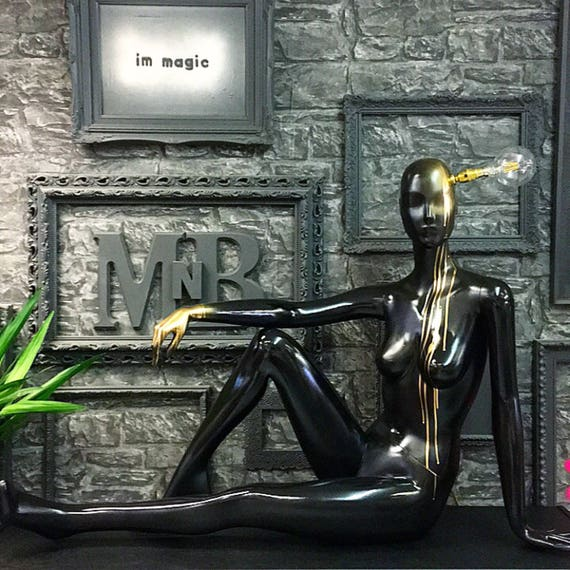 Black gloss and metallic gold mannequin lamp