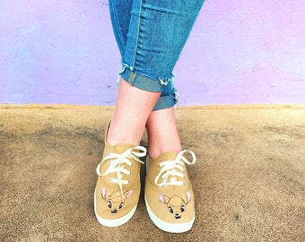 Bambi, woodland, deer, disney, handcrafted,  womens shoes, 40 dollar gift