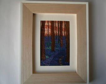 Bluebell Wood Textile Art