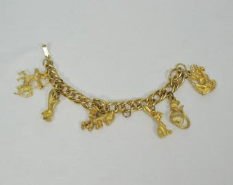 Vintage Goldtone Charm Bracelet with 6 Charms - Animal, Mythological and Religious