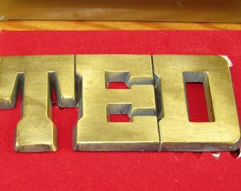 CLEARANCE metal vintage belt buckle TED