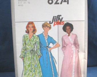 Vintage Simplicity Pattern 8273 Misses Jiffy Robe in Two Lengths Size 14-16 Medium