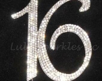 Custom Sweet Sixteen 16 0r 15 Rhinestone cake topper decoration numbers cake topper Birthday cake topper bling