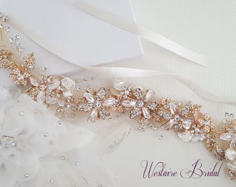 Gold Wedding Belt, Bridal Belt, Sash Belt, Crystal Rhinestone, Gold Bridal Belt, Bridal Accessories - Style 792