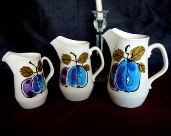"""Island Worcester """"Forbidden Fruit"""" Hand-Painted and designed  by Vera Neumann - Choice of PITCHER - ONE size Available  - Made in Jamaica"""