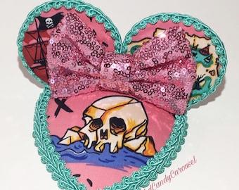 Pink Neverland Print Teardrop Retro Dapper Mouse Ears Fascinator Hat