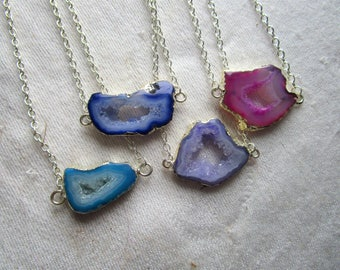 Dainty Geode Necklace // Agate Necklace Agate Slice Druzy Necklace
