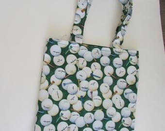 Golf Tote Bag, Green and White Golf Ball Tote Bag