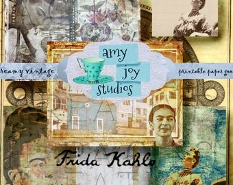 Frida Kahlo Art  printable journal pages  junk journal kits  DIY journal  Frida journal  digital journal kit  printable junk journal