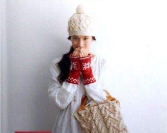 "26 JAPANESE KNIT PATTERN-""Traditional Hand Knit-Asashi Original""-Japanese Craft E-Book #380.Cape-hat-coaster-mittens-leg warmer-hair accesso"