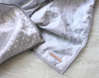 Everyday Minky Blanket / Marble Blanket / Marble Cuddle Blanket / Grey and White blanket