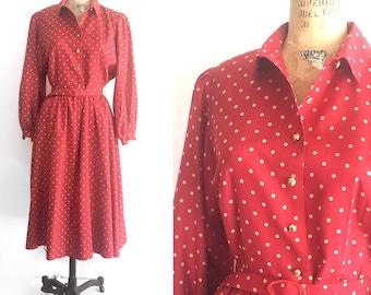 Vintage Dot Dress, Red Shirtdress, Americana Classic- fun Holiday dress!