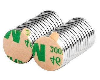 1/2 x 1/16 Inch Neodymium Rare Earth Craft Disc Magnets N48 with 3M Self-Adhesive (30 pack)