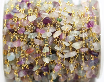 1foot Fluorite Wire Wrapped Beaded Chain ,Gold plated Brass Rosary Style Chain -WC0300