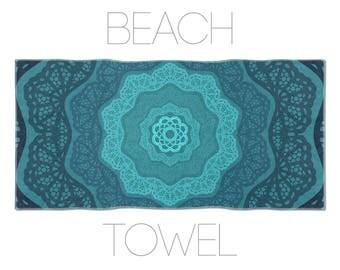 Mandala Towel, Mandala Beach Towel, Blue Towels, Hotel Towels, Pool Towels, Boho Towel, Turquoise Towels, Bath Accessory