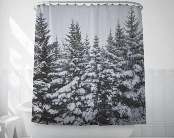 Snowy Pine Tree Shower Curtain Art, Winter Bath Decor, Black And White, Extra Long Shower Curtains, Bath Photo Decor, Bathroom Sets