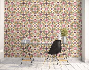 Barcelona Tiles Wallpaper, Geometric Wallpaper, Graphic Pattern, Interior Decoration, Home Decorating, Graphic Wall Art, Office Wall. SP033