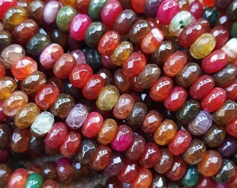 "Natural Rainbow Agate Rondelle Faceted 6mm x 4mm Beads - 15.5"" Strand"