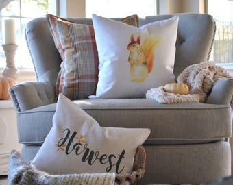 Woodland Squirrel Farmhouse Pillow Cover | Autumn Pillow Cover | Farmhouse Throw Pillow | Rustic Fall Pillow Cover | Woodland Squirrel