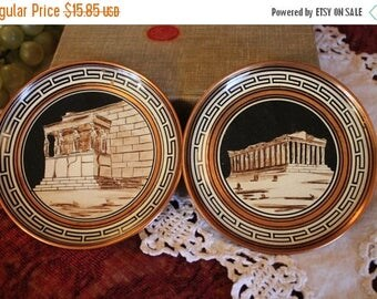 "Christmas in July Set of 2 Hand Made Souvenir 5"" Copper Plates Made in Greece - The Parthenon and Acropolis"