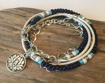 Wrap Bracelet, Boho Beaded Wrap Bracelet, Leather Wrap,Blue, silver, White with Chain,2X Leather Wrap, CHOOSE your CHARM!