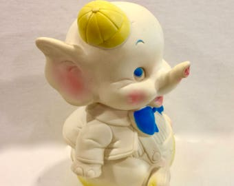 Vintage Toy Elephant, Edward Mobley, Rubber Elephant, Circus Squeak Toy, Arrow Rubber and Plastic Co, Baby Toy, Copyright 1961